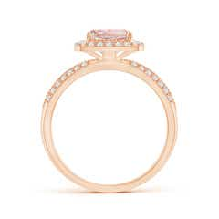 Toggle Twisted Rope Cushion Morganite Halo Ring