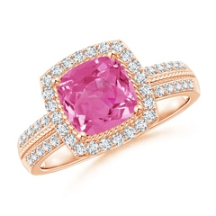 Halo Oval Pink Sapphire and Diamond Promise Ring