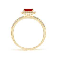 Toggle Twisted Rope Cushion Ruby Halo Ring
