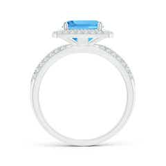 Toggle Twisted Rope Cushion Swiss Blue Topaz Halo Ring
