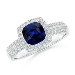 Angara Bezel Framed Blue Sapphire and Diamond Promise Ring in Rose Gold QWCNqYuu10
