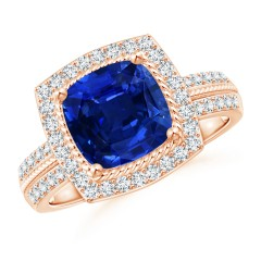 Twisted Rope GIA Certified Cushion Sapphire Halo Ring