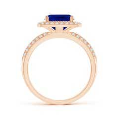 Toggle Twisted Rope GIA Certified Cushion Sapphire Halo Ring