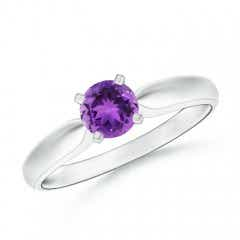 Tapered Shank Amethyst Solitaire Ring with Four Prong