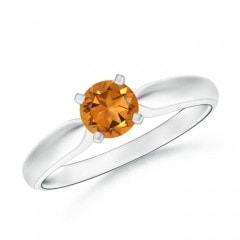 Solitaire Round Citrine Tapered Shank Ring