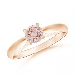 Solitaire Round Morganite Tapered Shank Ring