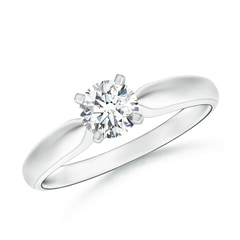 Solitaire Round Moissanite Tapered Shank Ring