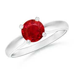 Tapered Shank Ruby Solitaire Ring with Four Prong