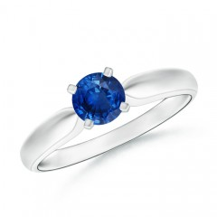 Tapered Shank Blue Sapphire Solitaire Ring with Four Prong