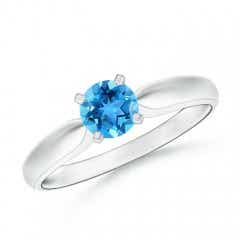 Solitaire Round Swiss Blue Topaz Tapered Shank Ring