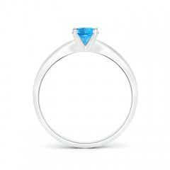 Toggle Solitaire Round Swiss Blue Topaz Tapered Shank Ring