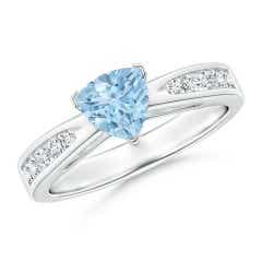 Trillion Aquamarine Solitaire Ring with Diamond Accents
