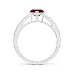 Toggle Trillion Garnet Solitaire Ring with Diamond Accents