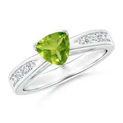 Trillion Peridot Solitaire Ring with Diamond Accents
