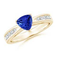 Trillion Tanzanite Solitaire Ring with Diamond Accents