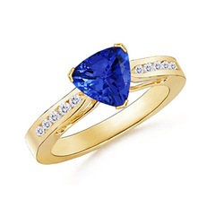 Trillion Tanzanite Solitaire Ring with Diamond Accents