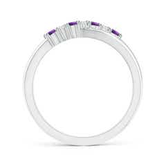 Toggle Round Amethyst and Diamond Crossover Ring