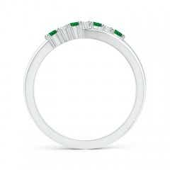 Toggle Round Emerald and Diamond Crossover Ring