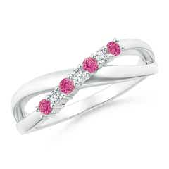 Round Pink Sapphire and Diamond Crossover Ring
