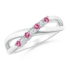 Round Pink Tourmaline and Diamond Crossover Ring