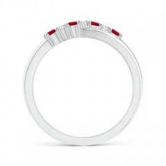 Toggle Round Ruby and Diamond Crossover Ring