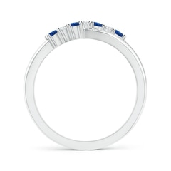 Toggle Round Blue Sapphire and Diamond Crossover Ring