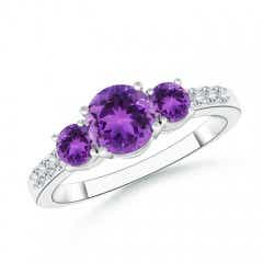 Three Stone Round Amethyst Ring with Diamond Accents