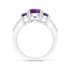 Toggle Three Stone Round Amethyst Ring with Diamond Accents