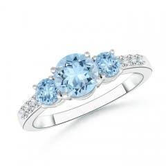 Three Stone Round Aquamarine Ring with Diamond Accents