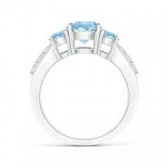 Toggle Three Stone Round Aquamarine Ring with Diamond Accents