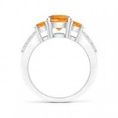Toggle Three Stone Round Citrine Ring with Diamond Accents