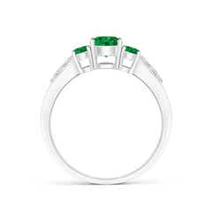 Toggle Three Stone Round Emerald Ring with Diamond Accents