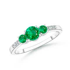 Three Stone Round Emerald Ring with Diamond Accents