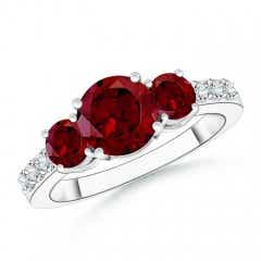 Three Stone Round Garnet Ring with Diamond Accents
