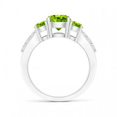 Toggle Three Stone Round Peridot Ring with Diamond Accents