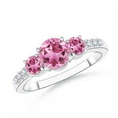 Three Stone Round Pink Tourmaline Ring with Diamond Accents