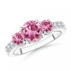 Three Stone Round Pink Tourmaline Ring with Diamond Accents