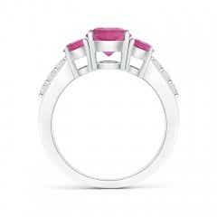 Toggle Three Stone Round Pink Tourmaline Ring with Diamond Accents