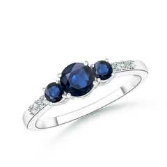 Three Stone Round Sapphire Ring with Diamond Accents