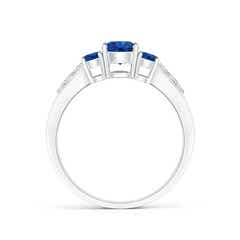 Toggle Three Stone Round Sapphire Ring with Diamond Accents