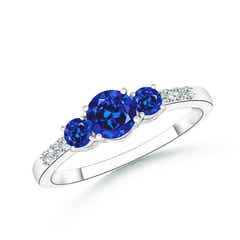 Round Lab Created Sapphire Three Stone Ring with Diamond Accents