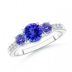 Three Stone Round Tanzanite Ring with Diamond Accents