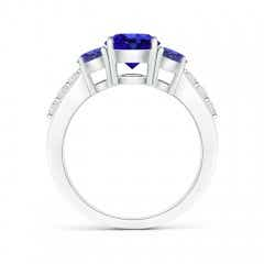 Toggle Three Stone Round Tanzanite Ring with Diamond Accents