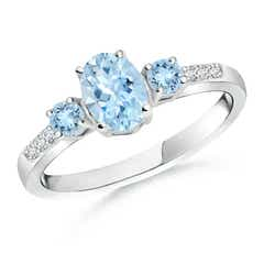 Oval Aquamarine Three Stone Ring with Diamond Accents