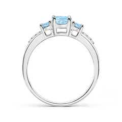 Toggle Oval Aquamarine Three Stone Ring with Diamond Accents