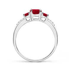 Toggle Oval Ruby Three Stone Ring with Diamond Accents