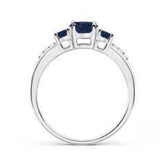 Toggle Oval Sapphire Three Stone Ring with Diamond Accents