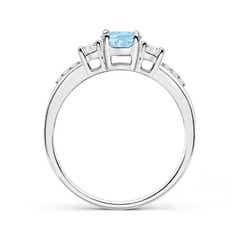 Toggle Classic Oval Aquamarine and Round Diamond Three Stone Ring