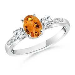 Classic Oval Citrine and Round Diamond Three Stone Ring