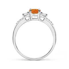 Toggle Classic Oval Citrine and Round Diamond Three Stone Ring